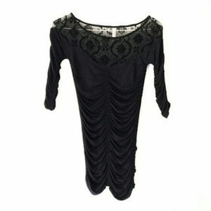 Free People Black Ruched Lace Stretch Blouse Small